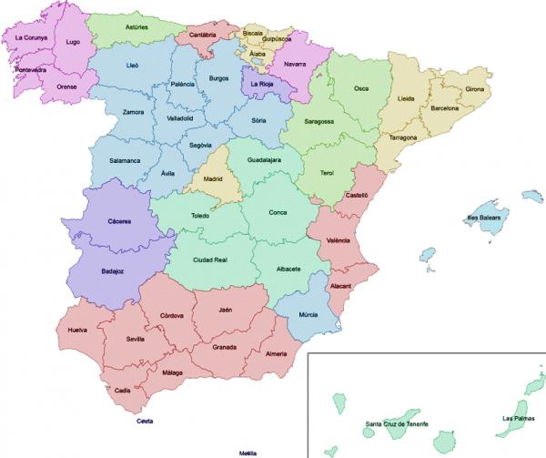 Mapa de España con sus provincias